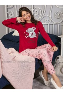 Maroon - Crew neck - Multi - Pyjama - Strawberry(110328448)