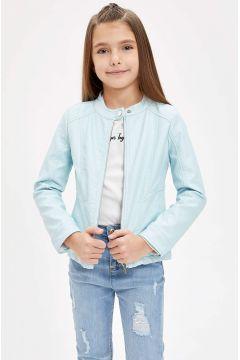 DeFacto Kız Çocuk Fermuarlı Suni Deri Ceket(119060292)