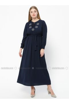 Navy Blue - Unlined - V neck Collar - Plus Size Dress - SUEM(110315290)