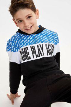 DeFacto Erkek Çocuk Renk Bloklu Baskılı Kapüşonlu Sweatshirt(108988119)