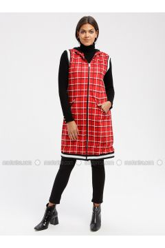 Red - Checkered - Fully Lined - Vest - MY MOOD(110339652)