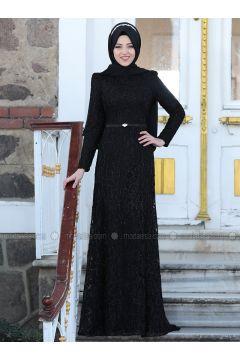 Black - Fully Lined - Crew neck - Muslim Evening Dress - Al-Marah(110316491)