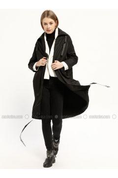 Black - Unlined - Polo neck - Trench Coat - Kaktüs(110319022)