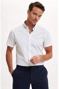 DeFacto Erkek Desenli Slim Fit Kısa Kollu Gömlek(119062833)
