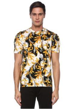 Versace Erkek Siyah Sarı Barok Desenli T-shirt S EU(120885131)