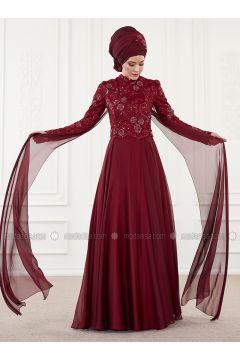Maroon - Fully Lined - Crew neck - Muslim Evening Dress - An-Nahar(110314626)