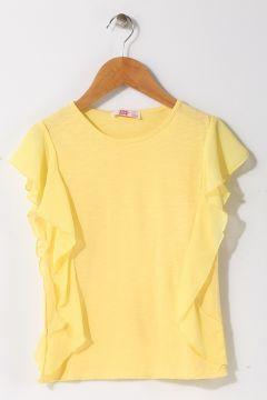 Pink&Orange Kız Çocuk Bisiklet Yaka Sarı T-Shirt(113957740)