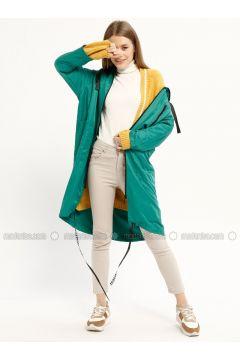 Green - Unlined - Polo neck - Trench Coat - Kaktüs(110319024)
