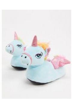Loungeable - Pantofole azzurre a forma di unicorno con ali-Blu(120299036)