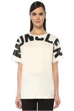 Moncler Kadın Beyaz Kontrast Logo Baskılı T-shirt XS EU(109265148)