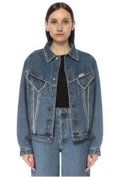 Forte Couture Kadın Taş Şerit Detaylı Bol Kesim Jean Ceket Mavi L EU(117384884)