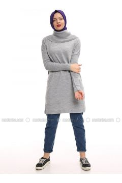 Gray - Polo neck - Acrylic - Jumper - Por La Cara(110336873)