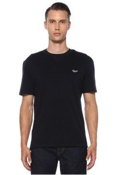 Zegna Erkek Siyah Kontrast Logo İşlemeli Basic T-shirt Lacivert 54 IT(120885293)