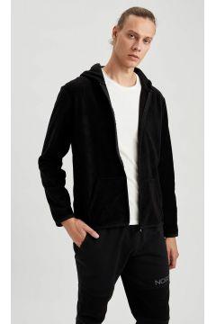DeFacto Erkek Kapüşonlu Fermuarlı Spor Polar Sweatshirt(125931459)