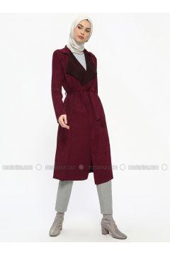 Plum - Unlined - Shawl Collar - Topcoat - ECESUN(110322433)