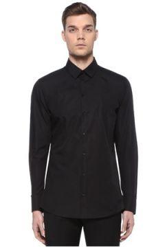 Dolce&Gabbana Erkek Martini Siyah İngiliz Yaka Logolu Gömlek 40 IT(109109709)
