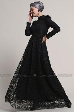 Black - Fully Lined - Crew neck - Muslim Evening Dress - Refka(110322496)