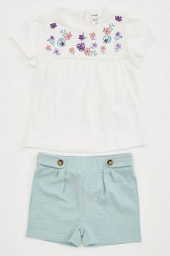 DeFacto Kız Bebek Çiçek Baskılı Şort Bluz Takım(125924664)