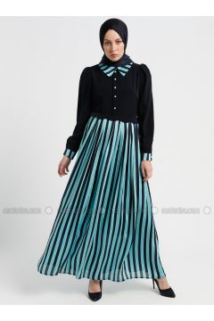Blue - Stripe - Point Collar - Fully Lined - Dresses - Tuana(110337070)