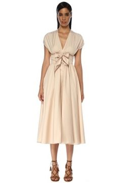 Alaia Kadın Bej V Yaka Fiyonk Detaylı Midi Elbise Pembe 40 FR(119785419)