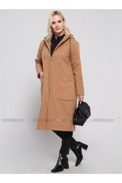 Camel - Fully Lined - Plus Size Overcoat - Alia(110322502)