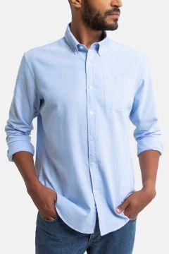 Camisa Oxford recta, cuello americano(122728314)