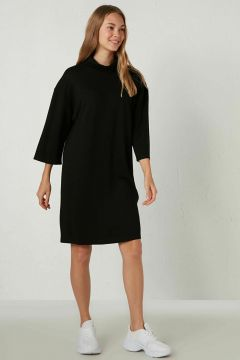 Kadın Yarım Balıkçı Yaka Düz Elbise(126603793)
