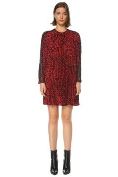 Red Valentino Kadın Kırmızı Leopar Desenli Pilili Mini Elbise 42 IT(121208206)
