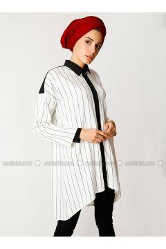 Black - White - Stripe - Point Collar - Viscose - Tunic - Meryem Acar(110332644)