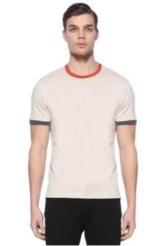 Brunello Cucinelli Erkek Bej Turuncu Bisiklet Yaka Basic T-shirt 54 IT(113466408)