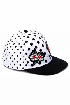 Çocuk Çiçek Nakışlı Puantiyeli Şapka(125010871)
