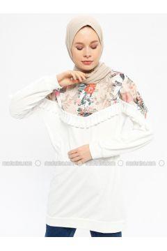 White - Multi - Cotton - Crew neck - Tracksuit Top - Hatun Atila(110332241)
