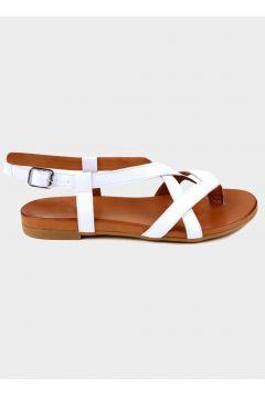 SHOELAB Beyaz Hakiki Deri Kadın Comfort Sandalet(118221808)