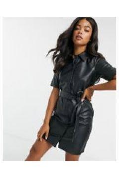 Urban Bliss - Vestito camicia in ecopelle nero(121196929)