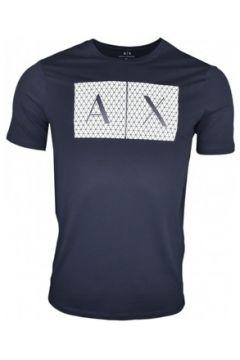 T-shirt Armani T-shirt Exchange bleu marine logo quadrillé pour homme(115506525)