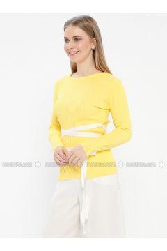 Yellow - Crew neck - Acrylic -- Jumper - Kaktüs(110327773)