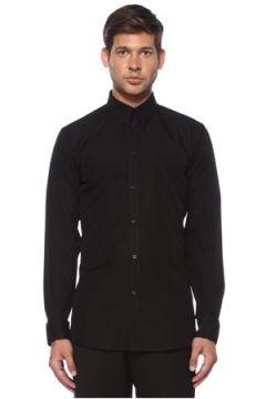 Givenchy Erkek Siyah Yakası Zincirli Poplin Gömlek 39 IT(119423145)