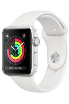 Apple Watch Seri 3 GPS 38 mm Gümüş Rengi Alüminyum Kasa ve Beyaz Spor Kordon -(124206605)