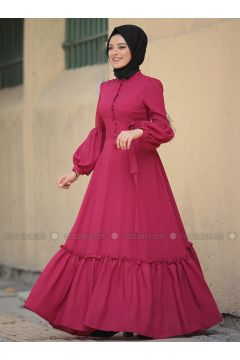 Coral - Crew neck - Fully Lined - Dresses - Zehrace(110331435)