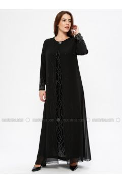 Black - Unlined - Crew neck - Muslim Plus Size Evening Dress - Havva Ana(110329992)