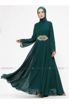 Green - Emerald - Unlined - Crew neck - Muslim Evening Dress - BÜRÜN(110313626)