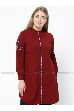 Maroon - Crew neck - Plus Size Tunic - SUEM(110315212)