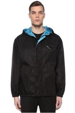 Prada Erkek Siyah Kapüşonlu Logolu Bomber Mont Mavi XS EU(109148712)