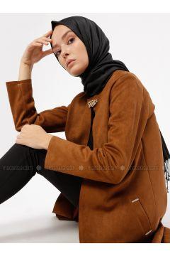 Camel - Unlined - Crew neck - Jacket - Ginezza(110313079)