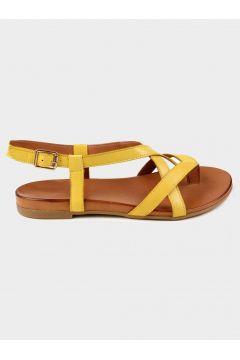 SHOELAB Sarı Hakiki Deri Kadın Comfort Sandalet(118221810)