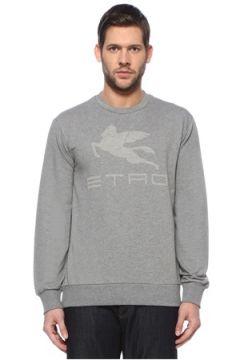 Etro Erkek Gri Logo Baskılı Sweatshirt S EU(127545782)