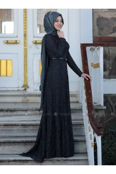 Anthracite - Fully Lined - Crew neck - Muslim Evening Dress - Al-Marah(110316494)