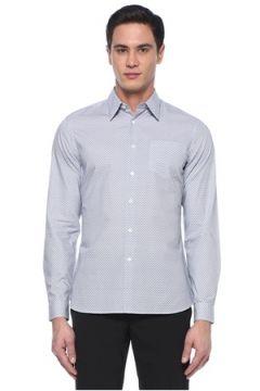 Prada Erkek Mavi Mikro Geometrik Desenli Poplin Gömlek 40 IT(107373148)