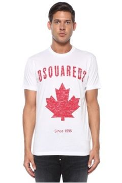 Dsquared2 Erkek Beyaz Logo Baskılı T-shirt XL EU(119423267)