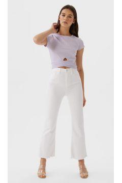 Cropped-Hose mit Schlag Weiß(113908237)